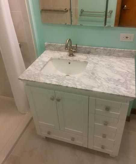 Wyndham Collection Acclaim 36 in. Vanity in White with Marble Vanity Top in Carrara White and Square Sink WCV800036SWHCMUNSMXX at The Home Depot - Mobile