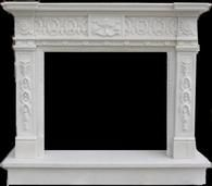 Heavily Carved Marble Fireplace Mantel, Greek Design #3919