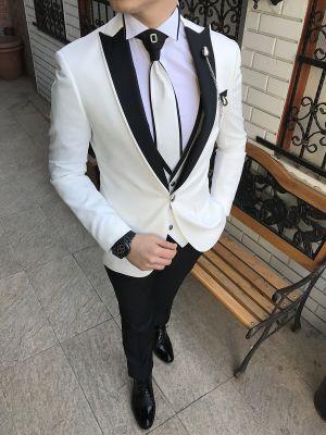 2702075d7fb76 Terziademaltun - İtalyan kesim erkek damatlık beyaz kombin takım elbise  T2195 (1)