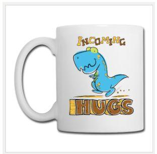 Ceramic Coffee Mug, Dinosaur Incoming Hugs, printed both sides, design from PlanetHupo. $23.90 #ceramic #coffeemug #mug #dinosaur #cute #animals