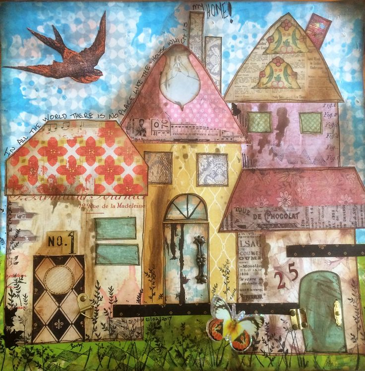 """Barbs Mey The Craftroom Mixed Media Collage """"Home"""""""