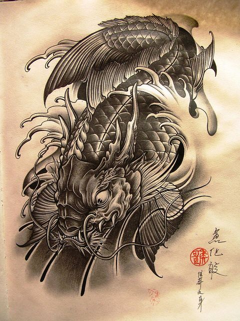 Koi Dragon Tattoo #2 I want this!!!!!                                                                                                                                                                                 Más