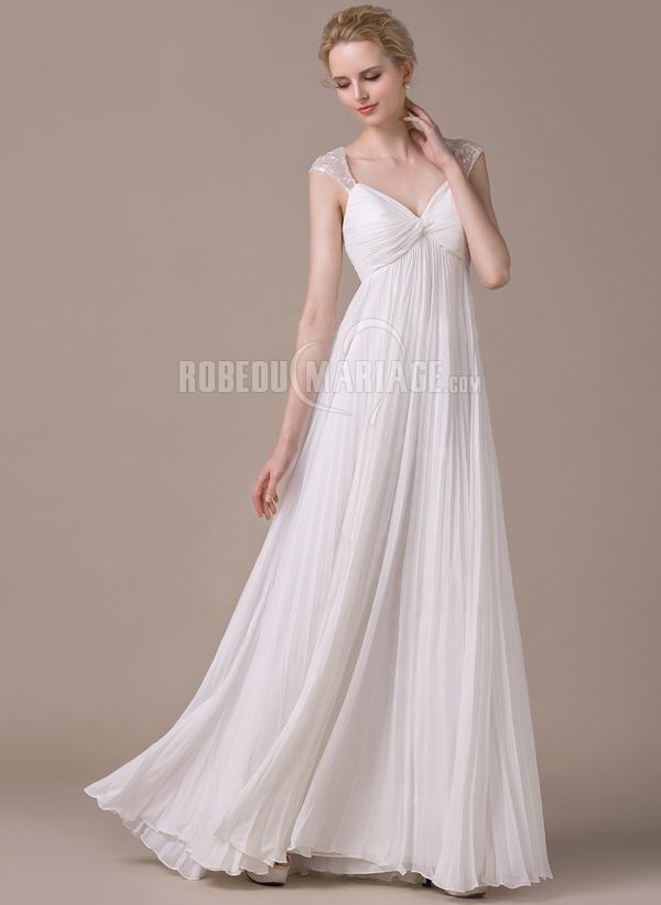Col en V robe de mariée enceinte en chiffon pas cher avec bretelle [# ...