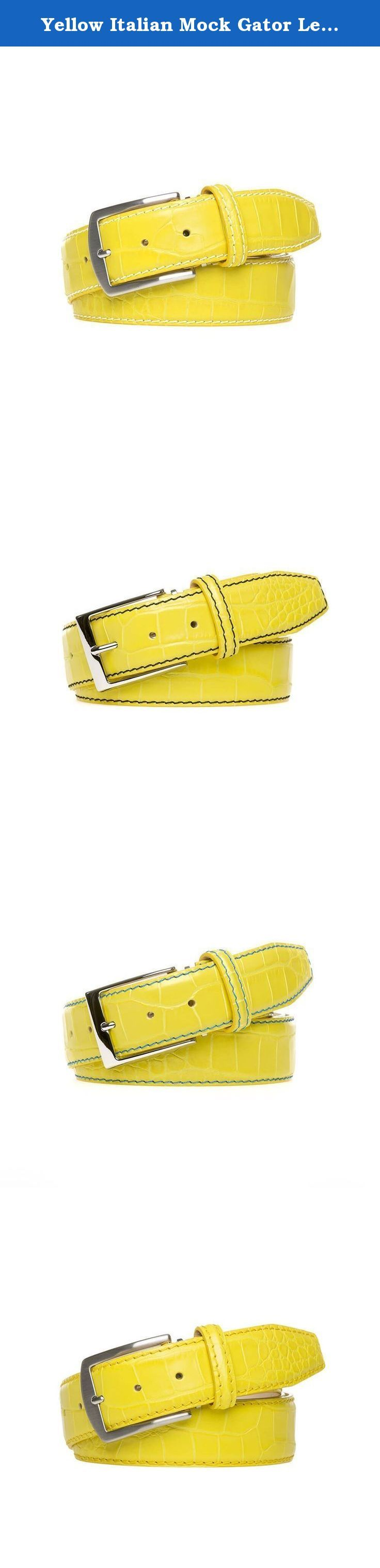 Yellow Italian Mock Gator Leather Belt. Made from 100% Italian Calf Leather and handmade to order. All of our leather products are made in the USA. Each belt is designed with a Nubuck lining and solid brass palladium buckle to ensure extra durability. In addition, each belt comes with a signature travel bag to store your belt in.