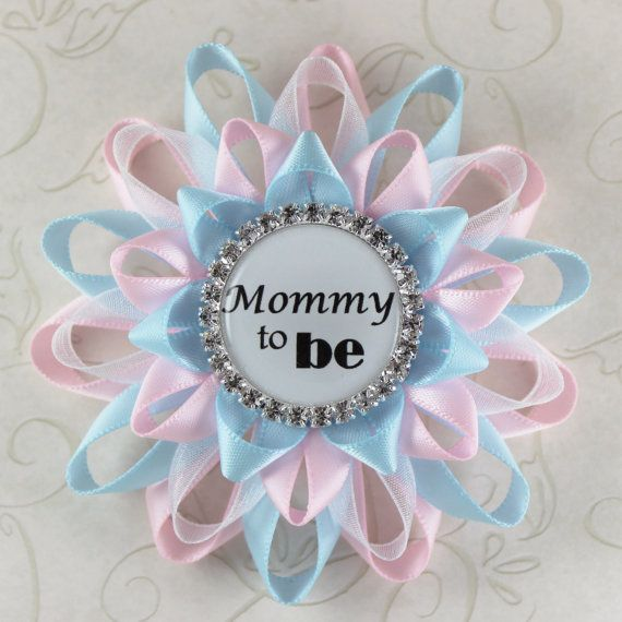 Mommy to Be Pin Pale Pink Light Blue Gender by PetalPerceptions