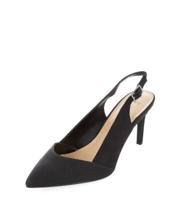 Black Slingback Pointed Court Shoes