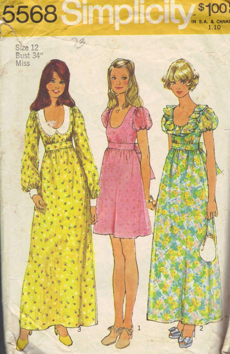 Simplicity 70s Sewing Pattern Hippie Boho Style Dress Maxi Mini Length Peter Pan Collar Empire Waist Bust 34. $4.50, via Etsy.