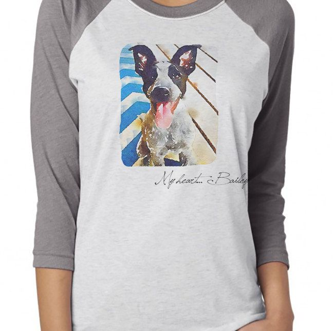 Dog Gifts For Her Part - 49: Custom Watercolor Of Your Pet And Petu0027s Name On Vintage T Shirt My Heart. I  Love My Dog T Shirt Cat Gift For Her Gift For Him Pet Gift By ...