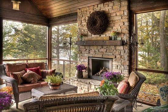17 best images about porch bliss on pinterest for Covered porch with fireplace