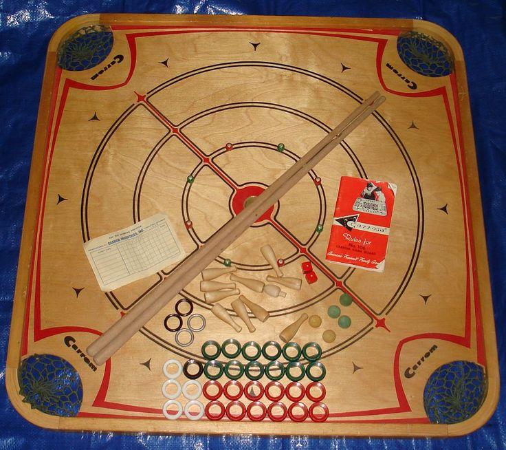 vintage games | Vintage 1963 Carrom Game Board #106 Cues Pins Rings Spinning Tops ...