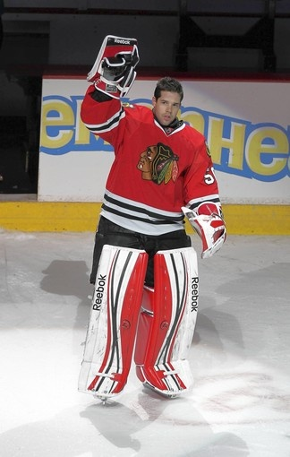 Corey Crawford was named the No. 1 star of the game. Blackhawks 5, Canadiens 1 ( Scott Strazzante, Chicago Tribune / December 21, 2011 )