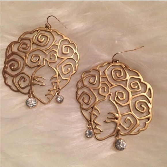 Afro Girl Earrings Beautiful Afro outlined gold tone dangle earrings with a dangling rhinestone. Jewelry Earrings