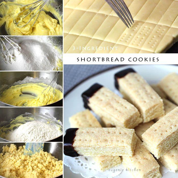 3 ingredient shortbread cookies! Perfect with tea!