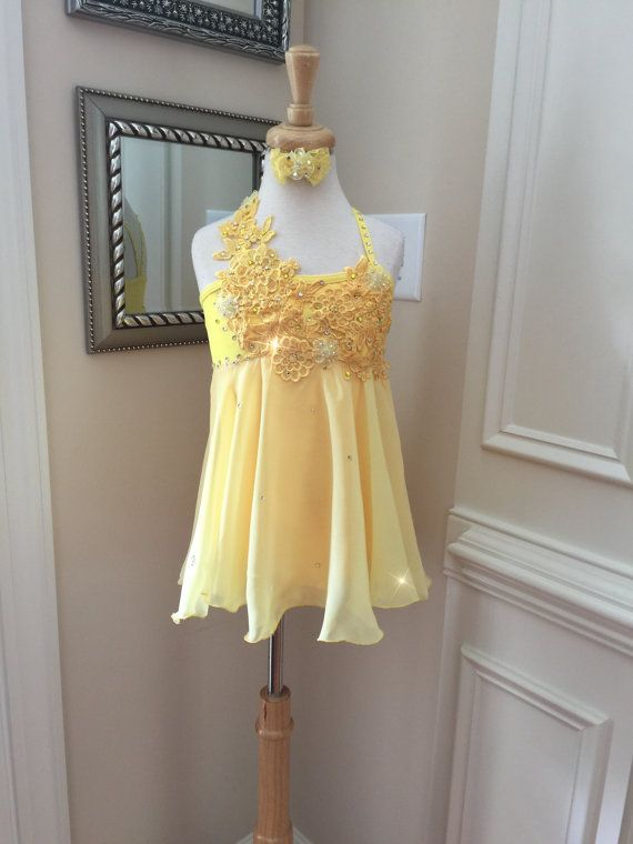 Custom Lyrical Dance Costume in YELLOW with by ...