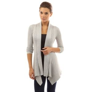 Women's Ribbed Long Sleeve Cascading Asymmetric Hem Open Sweater