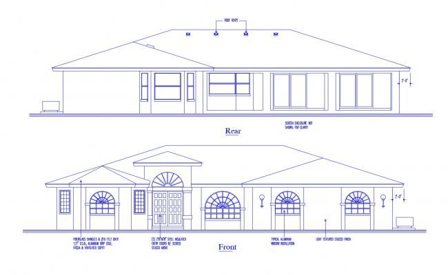 Elevation Drawing Of The House In Dwg File Elevation Drawing Open House Plans Country House Plan