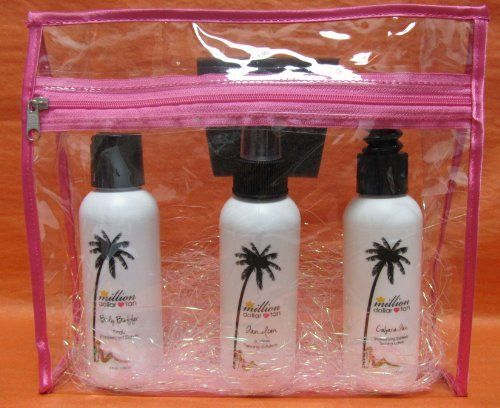 Million Dollar Tan's Essential Sunless Tanning Kit - Includes 3- 4oz. products by Million Dollar Tan. $45.00. Provides the most natural looking sunless tan available.  Gorgeous natural looking color, adjust how tan you would like to be.. Try all of our best selling products in one handy kit!  Perfect for traveling, easy to pack!. Includes: 4oz. Tan Icon Sunless Tanning Spray, 4oz. Cabana Tan Sunless Tanning Lotion & 4oz. Body Buffer Pre-Tan Exfoliating Body Scrub. High % o...