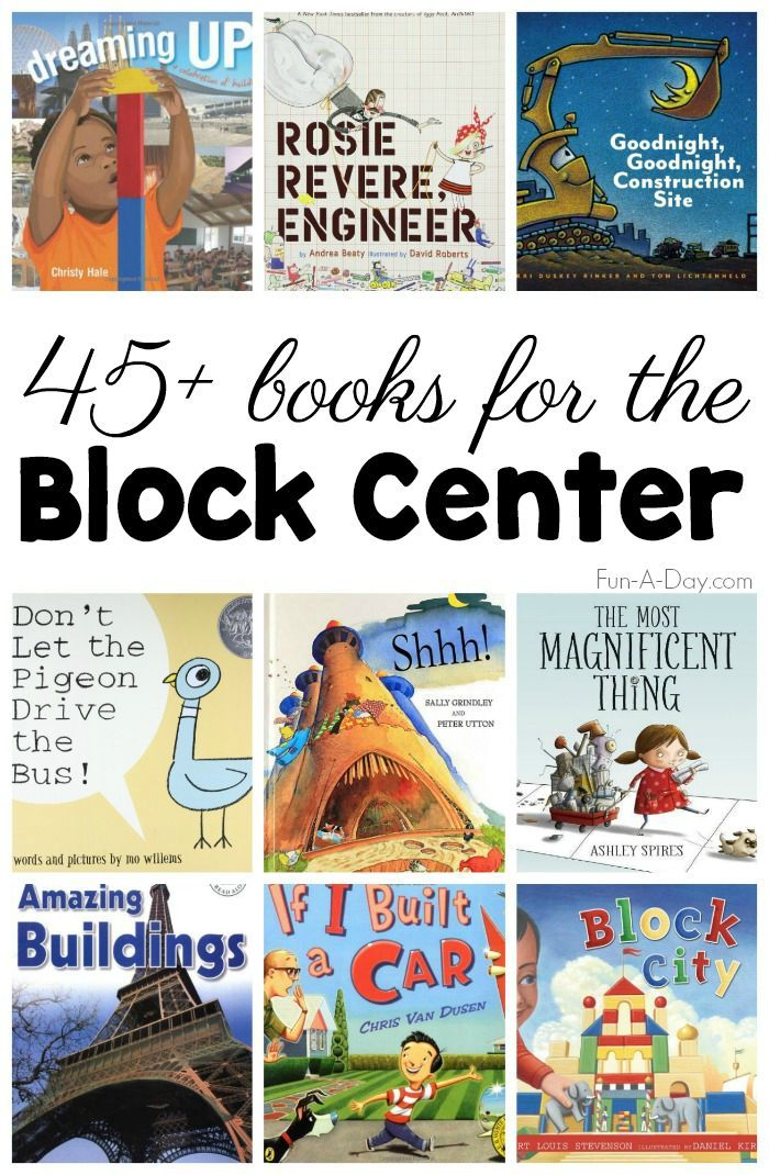 45+ Books for the Block Center #Preschool #Kindergarten #PreschoolActivities #PreschoolBooks #Preschoolers #Centers #BooksforKids #Books #FunADay #PreK