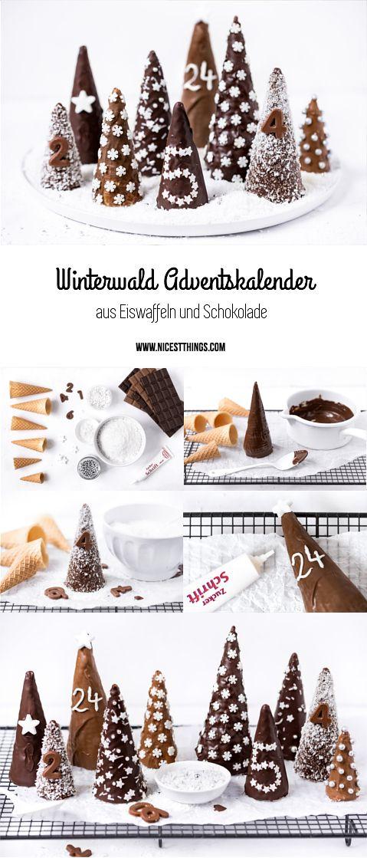 DIY Adventskalender Winterwald Eiswaffeln Eistüten Bäume Schokolade