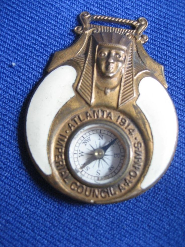 Mason watch fob enameled imperial council atlanta 1914 for Atlante compass
