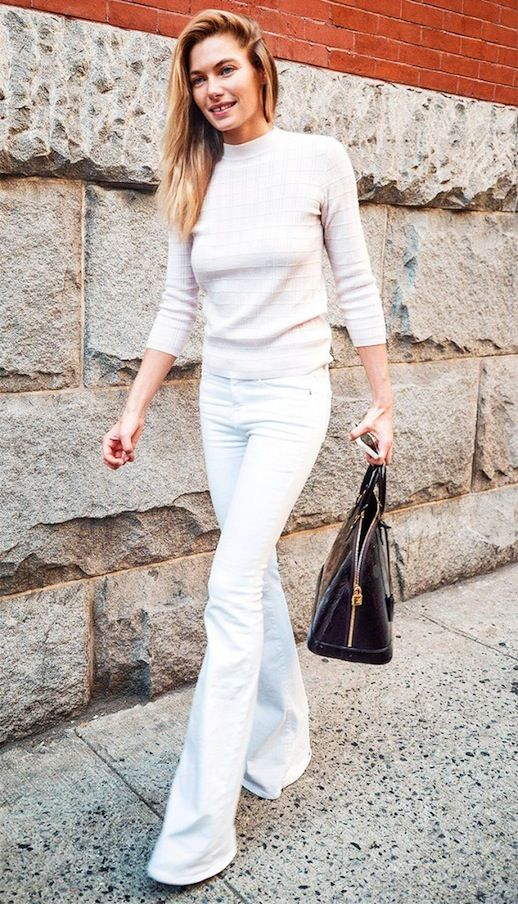 Jessica Hart, mock neck sweater & white flared jeans #style #fashion #streetstyle #model