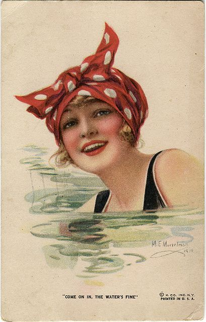 Vintage postcard girl swimming by the ghost of me, via Flickr