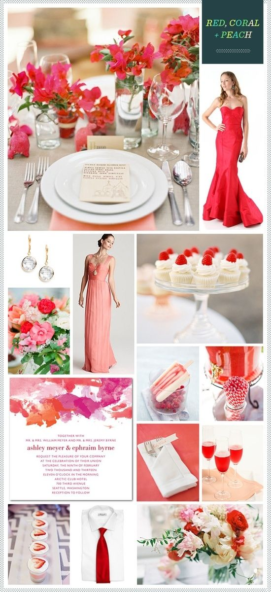 Red, Coral + Peach #color #palette by babyvoodoo850