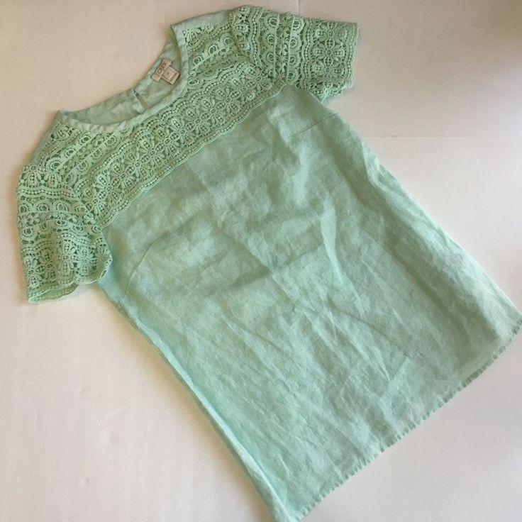 J Crew Mint 100% Linen 100% Cotten Crochet Lace Short Sleeve Shirt Top Sz 00 XS #JCrew #Linen #Top #cotton #mint #seafoam #trend #crochet #summer #casual #chic #fashion #womens #ootd #love #ebay #seller #thebudgetcafe #lightweight