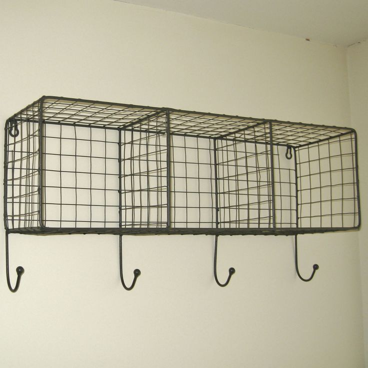Metal Wire Locker Room 3 Shelf Unit / Cage With Hooks - Industrial / Retro Style. With a grey wire finish these shelves are great for use in the bathroom / kitchen / bedroom or just about anywhere ! This industrial/retro inspired shelving provides useful and stylish storage. | eBay!