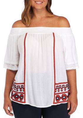 Crown & Ivy™ Women's Plus Size Short Sleeve Embroidery Smocked Top - White - 3X