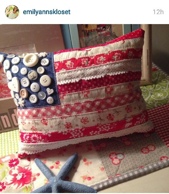 Flag pillow from scraps of vintage fabric, lace and a handful of old buttons.