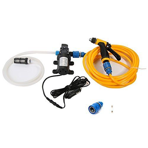 Xcellent Global 12V 80W Portable Car Washer Device Electric Powerful MAX 130 PSI Water Pump High Pressure Wash Gun with Car Charger Ideal for Auto Marine Pet Window Gardening and Camping AT011 *** Read more reviews of the product by visiting the link on the image.Note:It is affiliate link to Amazon.