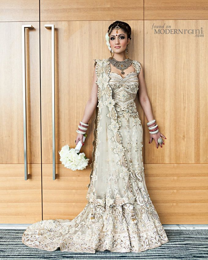 Wedding Gowns Indian: Champagne Lengha With Trail
