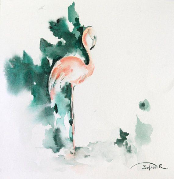 Flamingo Watercolor Painting Original Painting от CanotStop