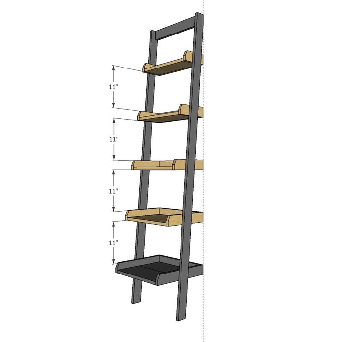 Ana white build a leaning ladder wall bookshelf free for Ladder project
