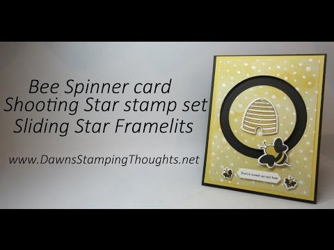 Bee Spinner card using Shooting Star stamp set and Sliding Star Framelits from Stampin'Up! - YouTube