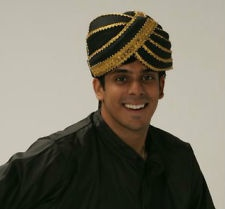 BLACK Maharajah Sultan Sheik Turban Headdress Hat Bollywood Costume Accessory