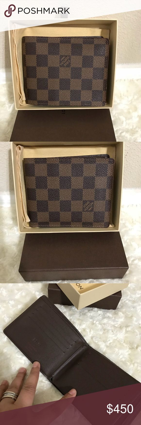louis vuitton authentic mens wallet Pre-owned 💯 Pre-owned LOUIS VUITTON DAmier ebene mens wallet. In great condition. No rip or tear. No foul smell. No peeling. Date code SP1019 made in france. Has innitial on it Comes with box and dustcover. Please check all the pictures before purchasing. Thank you.no ball offers ❌❌❌not accepted Louis Vuitton Bags Wallets