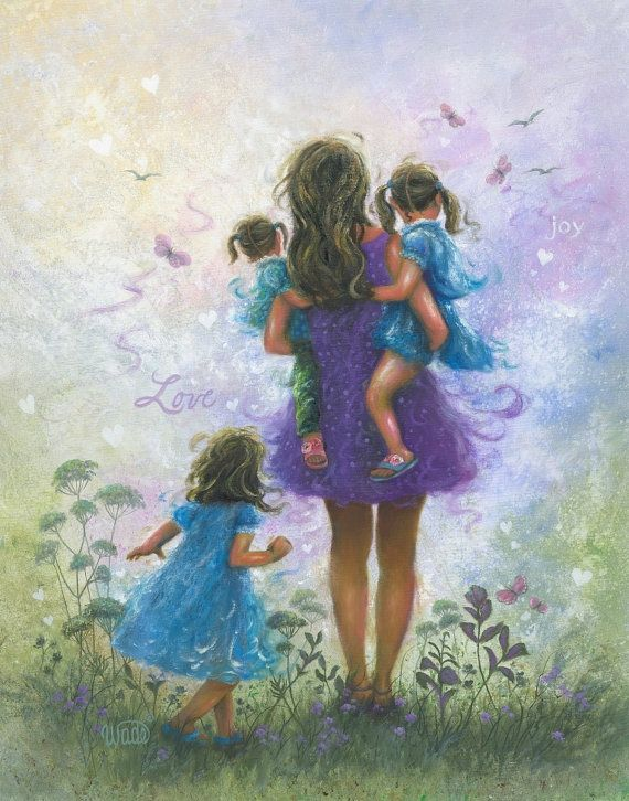 Mother and Three Girls Original Oil Painting 22X28, three sisters, three girls, Mom, purple, blue, mother's day gift, brunette, wall art https://www.facebook.com/nancy.l.addante