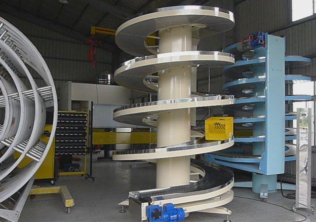 NEXUS Unit load spiral conveyor-Standard slat chain width 400mm and 600mm. nexus-spiral.com