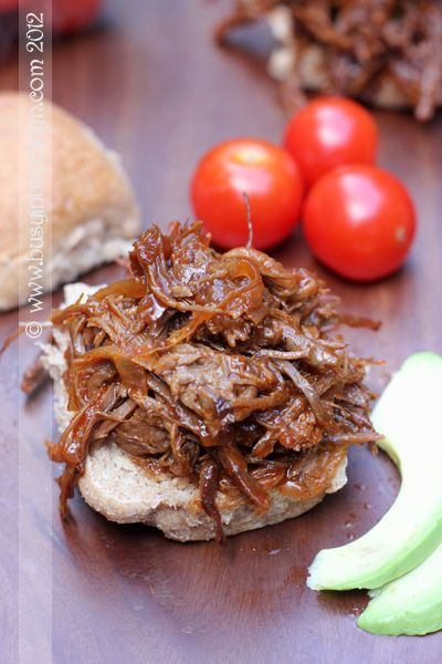 Slow Cooker Shredded BBQ brisket with home-made BBQ sauce!