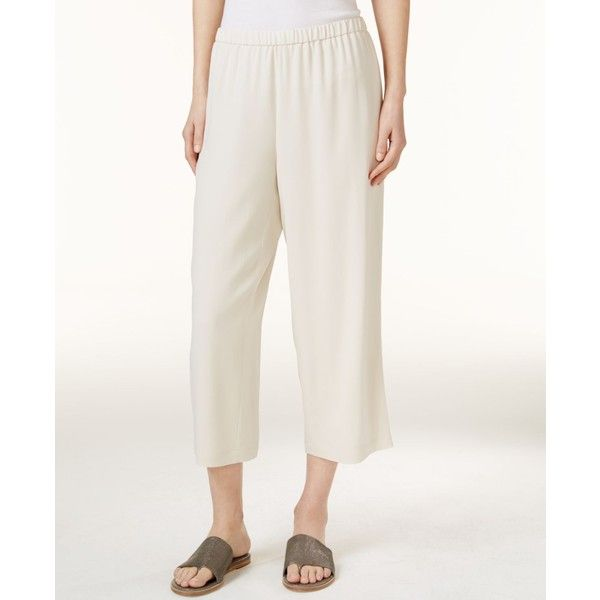Eileen Fisher System Silk Crepe Cropped Pants, Regular & Petite ($238) ❤ liked on Polyvore featuring pants, capris, bone, white trousers, petite pants, petite white pants, white pants and white crop pants