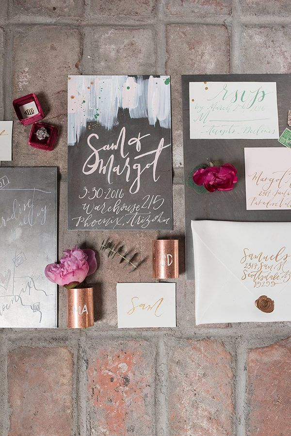 modern wedding invitations - photo by Marisa Belle Photography http://ruffledblog.com/fuchsia-industrial-wedding-inspiration