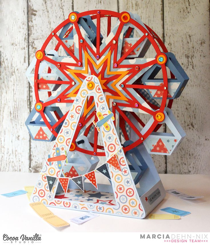 Ferris Wheel created with the Cocoa Vanilla Studios Flying High collection and Xyron adhesives. SVGcuts digital cut file Summer Carnival. Chibitronics lights