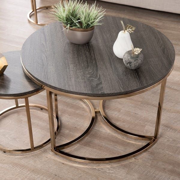 Silver Orchid Belle Round 3 Piece Nesting Coffee Table Set