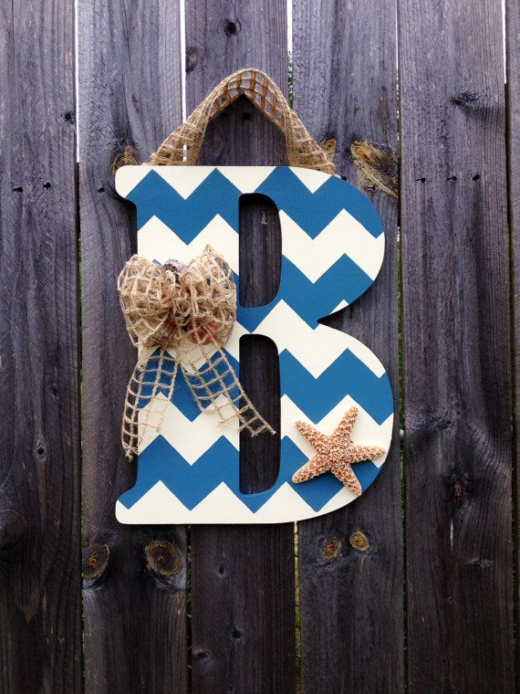 Chevron Monogram Door Hanger Beach Themed
