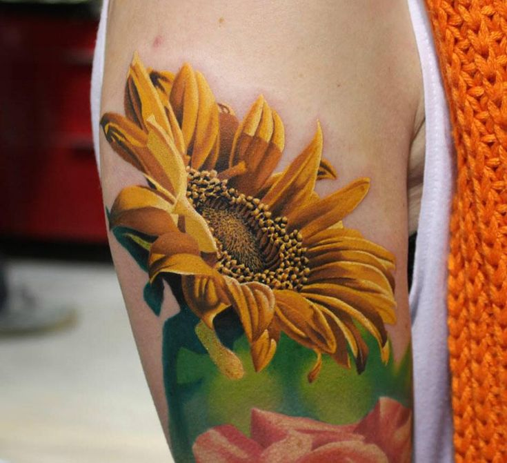 Tattoo Ideas on Twitter | Colorful sunflower tattoo, Sunflower tattoo, Sunflower tattoos