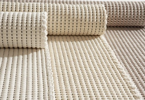 Duetto 2, hand woven rug made of cotton and paper yarn by Hanna Korvela Design.