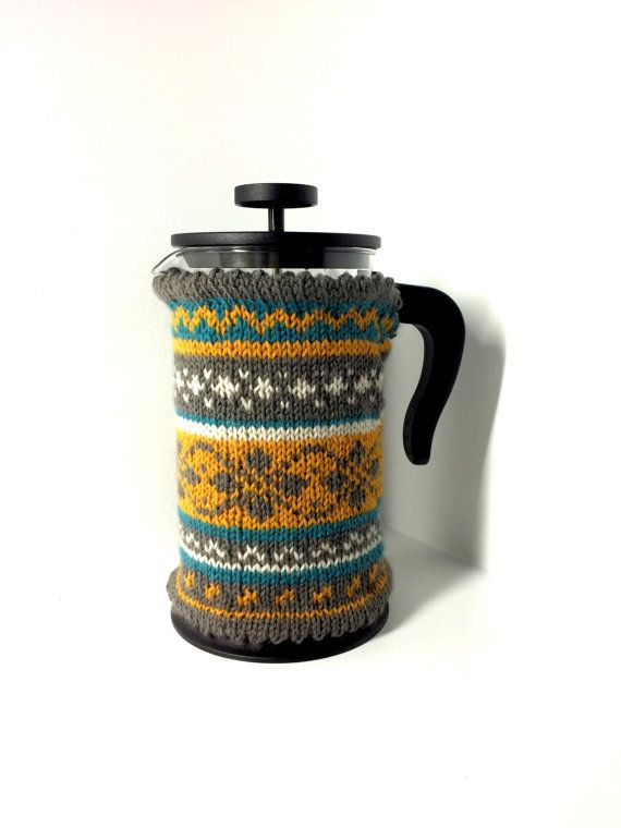Fair Isle Knit French Press Cozy - Large French Press/Bodum/Coffee/Tea Pot Cover/Warmer