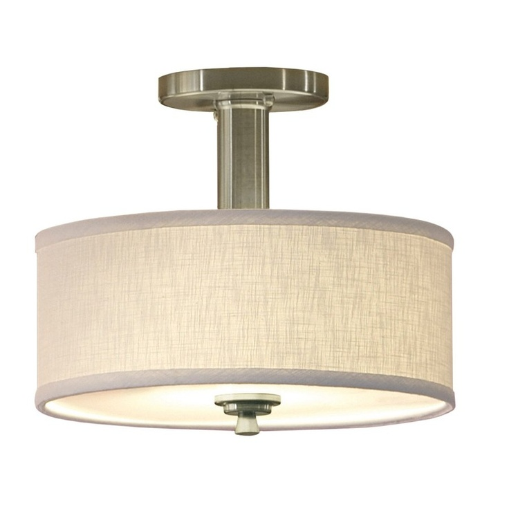 "allen + roth 12"" Brushed Nickel Fabric Semi-Flush Mount Light - Lowe's Canada $59.92"